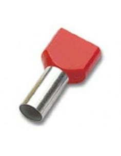 Terminali a tubetto twin 2 X 1 mm2 lungh. 16 mm collare isolato rosso CEMBRE PKT108 confezione 100 pz