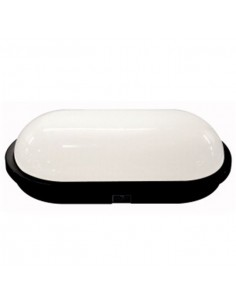 Plafoniera led ovale da esterno bianco freddo 20W IP65 D22 nera