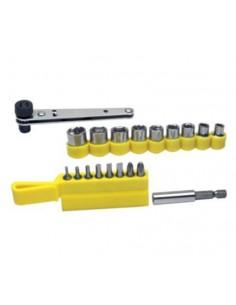 Chiave a cricchetto a rotazione reversibile con 8 inserti e 9 bussole esagonali