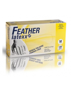 Guanti in lattice monouso taglia L bianchi 5 gr FEATHER LATEXX conf. 100 pz