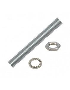 Niples 30 mm in metallo filetto M10X1 completo di dado e rondella