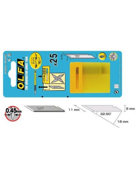 25 Lame di ricambio per cutter di precisione per sgarzinare OLFA KB