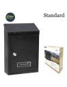 Cassetta postale nera in acciaio misura 210x60x300 mm