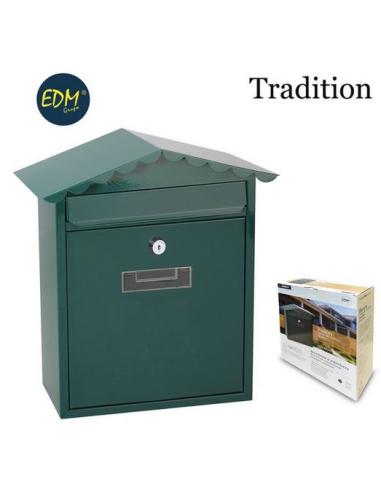 Cassetta postale verde in acciaio misura 260x90x355 mm