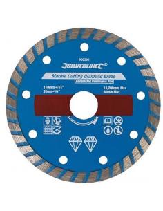 Lama a disco diamantata 110X20 mm a bordo continuo a corona per taglio marmo