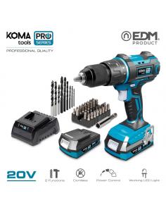 Trapano avvitatore 20V con 2 batterie 2.0 ah a percussione serie PRO Koma tools EDM
