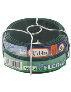 Filo di ferro diametro 1,4 mm N6 zincato e plastificato 50 metri verde