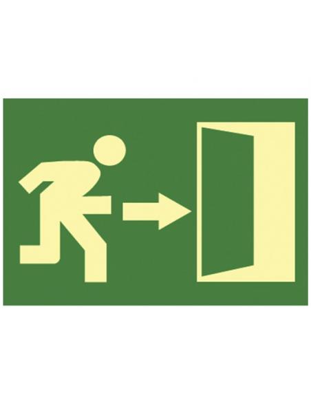 """Cartello """"uscita di emergenza"""" in plastica fluorescente direzione freccia verso destra misura 16x32 cm"""