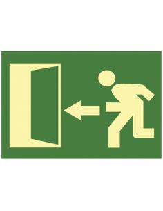 """Cartello """"uscita di emergenza"""" in plastica fluorescente direzione freccia verso sinistra misura 16x32 cm"""