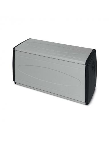 Baule contenitore multiuso 308 litri in resina termoplastica misura 120x54x57h cm certificato IPX3 grigio/nero