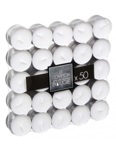 Set 50 candele tea light in cera bianca e vasetto in alluminio durata 4 ore