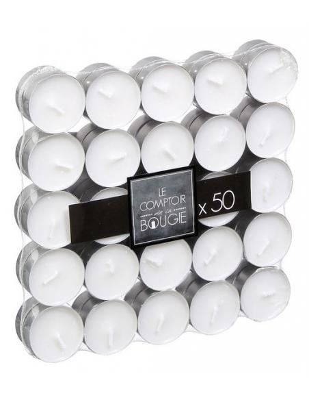 Set 50 candele tea light in cera bianca e vasetto in alluminio durata 4 ore