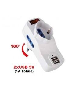 Tripla spina 16A rotante - prese bipasso + Schuko + 2 USB con interruttore