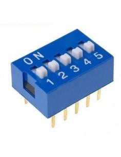 Dip switch 5 poli per circuiti stampati passo 2,54 mm TCS
