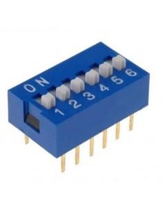 Dip switch 6 poli per circuiti stampati passo 2,54 mm TCS