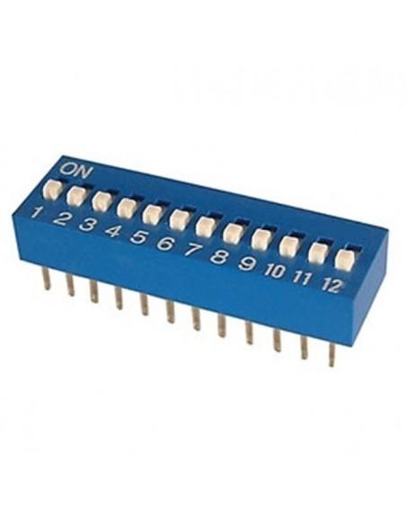 Dip switch 12 poli per circuiti stampati passo 2,54 mm TCS