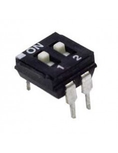 Dip switch 2 poli per circuiti stampati passo 2,54 mm TCS black
