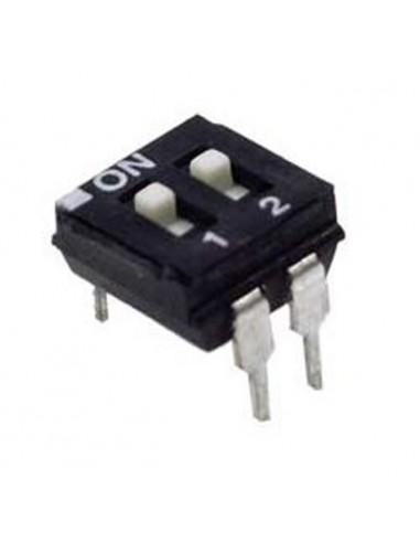 Dip switch 2 poli per circuiti stampati passo 2,54 mm TCS black