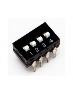 Dip switch 4 poli per circuiti stampati passo 2,54 mm TCS black