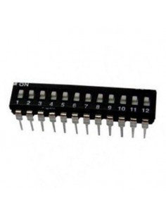 Dip switch 12 poli per circuiti stampati passo 2,54 mm TCS black
